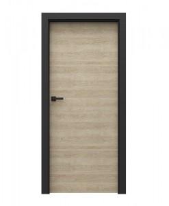 Двери в стиле лофт модель Porta Loft 7.1 цвет песочный дуб и коробка черная матовая