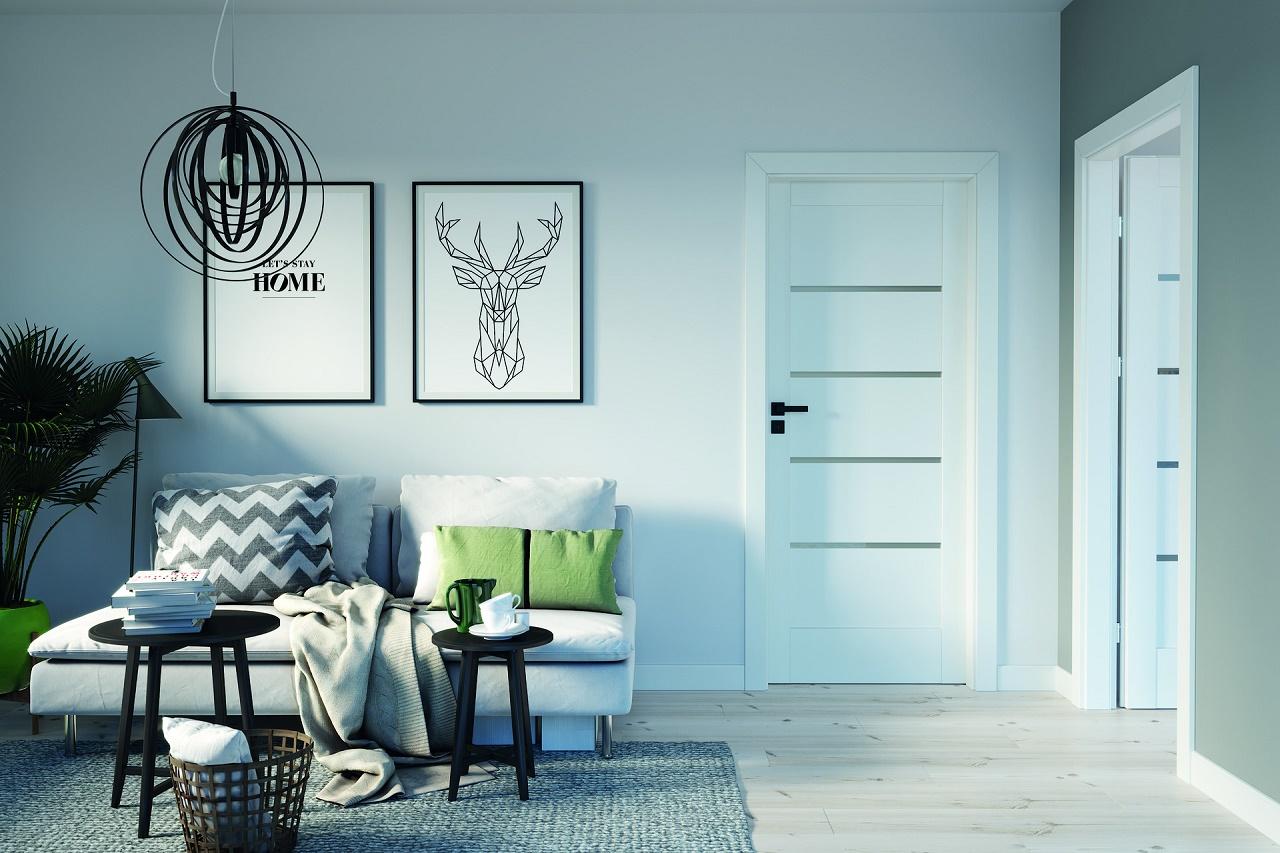 белые двери модерн на серой стене фото порода появилась