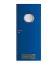Двери HPL для бассейнов Aqua модель 4 с решеткой, с иллюминатором, ламинат HPL