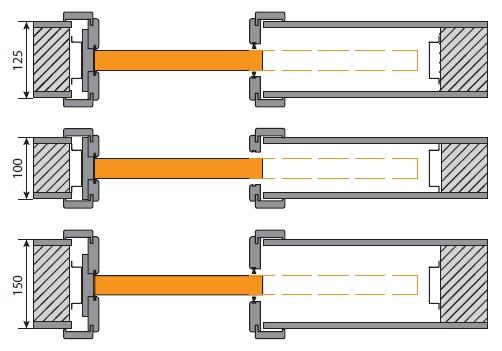 Схема системы Kompakt раздвижных дверей в стену